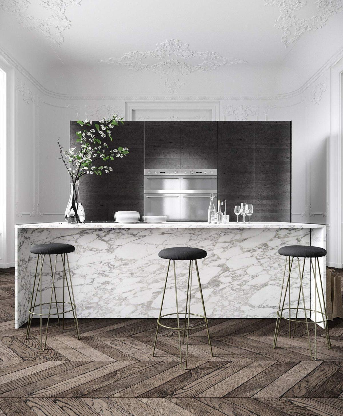 Modern Kitchen with Black Cupboards