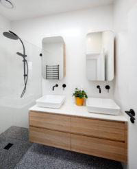 Modern Bathroom with Black Tapware