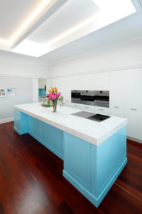 White Kitchen with Skyblue Island Bench