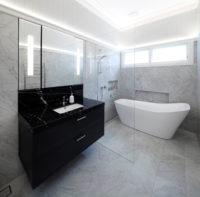 Modern Bathroom with Black Basin