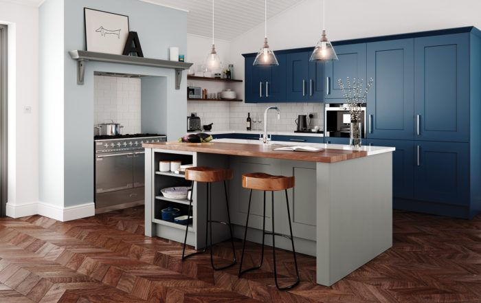 Traditional Parisian Blue Kitchen