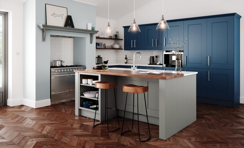 Traditional Parisian Blue Kitchen