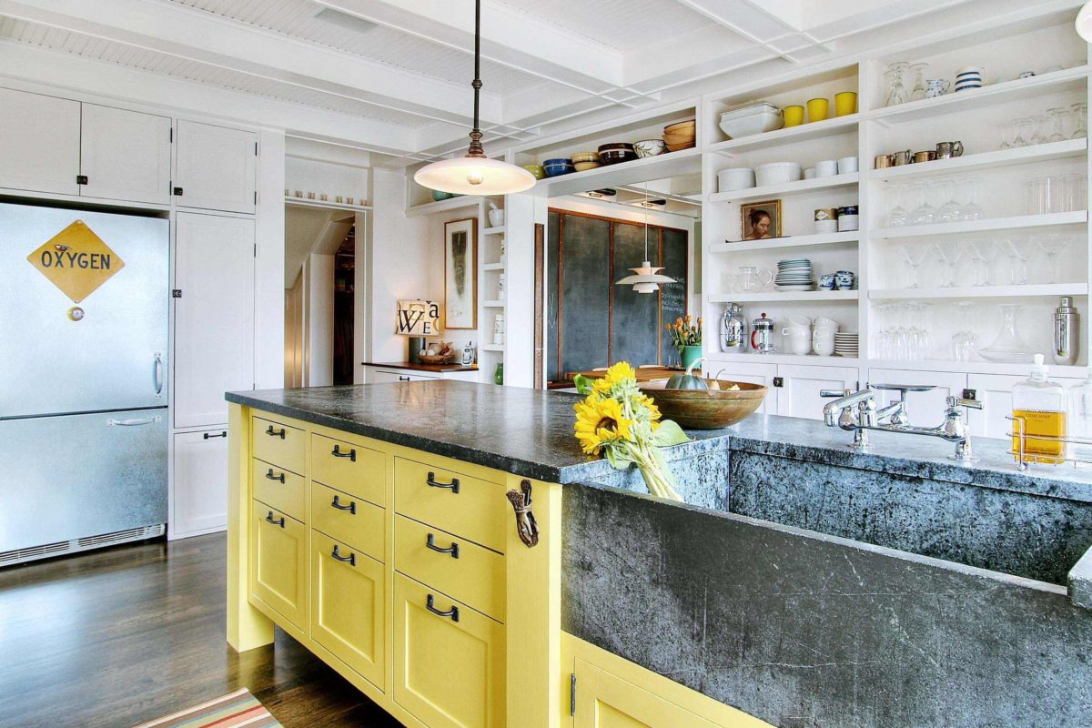 Trendy, Yellow, Stone Kitchen