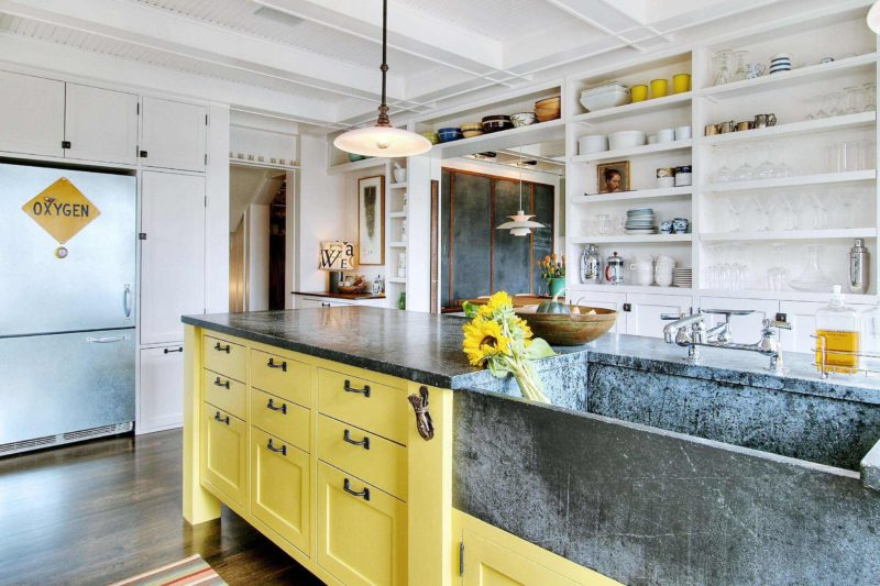 Trendy, Yellow, Stone Kitchen